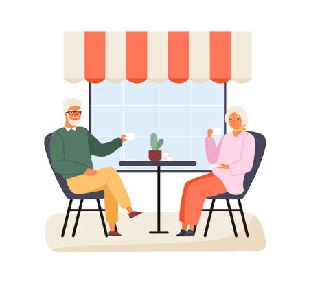 Happy elderly couple sitting at table of summer outdoor cafe vector flat illustration. Smiling mature man and woman drinking coffee or tea together isolated. Family talking spending time at cafeteria