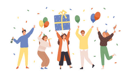 Group of happy people raising hands celebrating holiday with colorful confetti vector flat illustration. Woman hold gift box having fun with friends isolated. Person with balloons and champagne Vektorgrafik