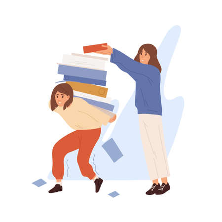 Concept of unfair load distribution, overhours and stressful situation. Colleague put piles of giant folders on overworked and tired office manager. Flat vector cartoon illustration isolated on white
