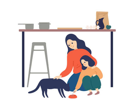 Caring mother and cute daughter feeding cat at kitchen vector flat illustration. Happy woman spending time with kid enjoying motherhood isolated on white. Parent teaching child taking care about pet