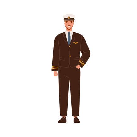 Smiling male aircraft pilot in modern uniform and cap vector flat illustration. Happy man aircrew captain or aviator with mustache and beard standing isolated on white. Professional airman posing