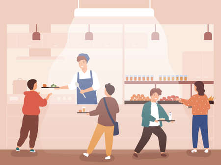 Flat vector cartoon illustration of school canteen with children. Pre teen pupils queuing, carry and hold trays with lunch at cafeteria. Schoolchildren take drinks and meal. Scene of mealtime