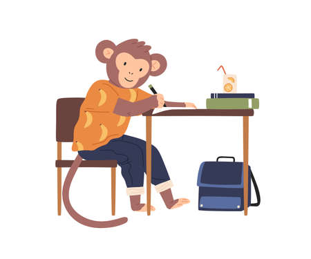 Smart monkey in clothes, sit at desk while studying. Animalistic childish character flat vector cartoon illustration isolated on white. Cute animal, elementary school pupil learning in classroom