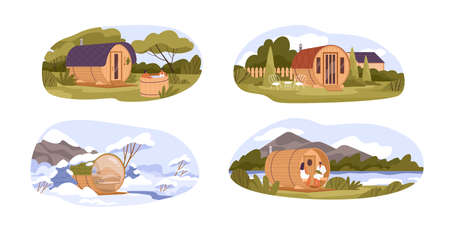 Set of different barrel sauna with natural landscape flat illustration. Collection of various wooden outdoor cabin with relaxing people isolated. Round bathhouse at summer and winter scenery