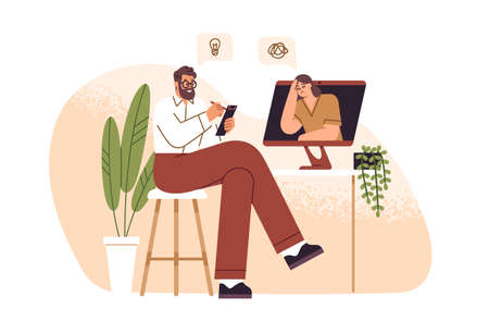 Male psychologist consulting female patient online flat illustration. Psychoanalyst sitting in front of computer and making notes isolated. Psychology aid to woman with mental disorder