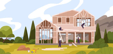 Group of male workers constructing cottage flat illustration. Team of builders in uniform making construction work use equipment at natural landscape. Professional repairman at house building