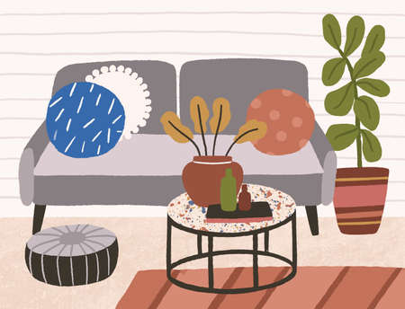 Comfortable lounge in scandinavian style with sofa, pouf, coffee table and houseplant. Cozy trendy living room interior. Modern hygge design. Flat vector textured illustration Stock Illustratie