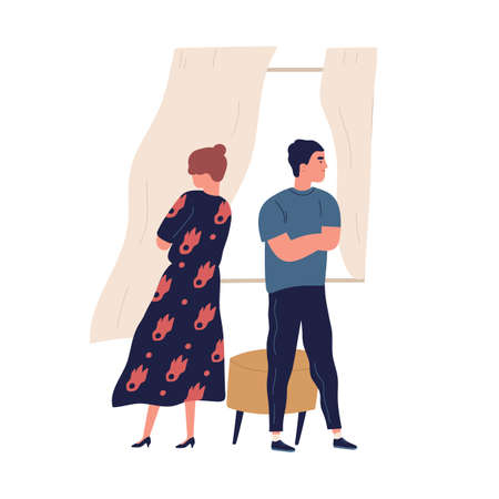 Annoyed couple standing back to back with crossed arms. Scene of family breakup or conflict. Offended husband and wife with difficulties in relation. Flat vector cartoon illustration isolated on white