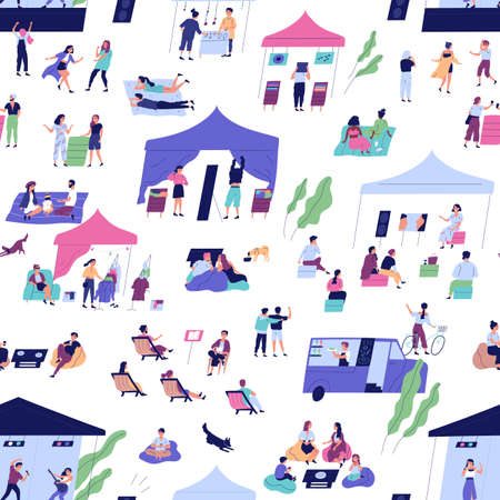 Seamless pattern with people at indie open air festival or hipster event activity. Persons chill together or have recreation at outdoor summer music party. Flat background on white