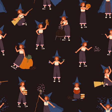 Childish seamless pattern with girl in witch hat with magic wand, potion or stick. Wizard kid on magical broomstick. Flat vector illustration with conjuring cute child, owl, books, Halloween pumpkin