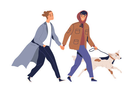 Homosexual male couple holding hands walking with dog vector flat illustration. Two guys smiling spending time together feeling love isolated on white. Enamored man pet owners enjoying promenade 矢量图像