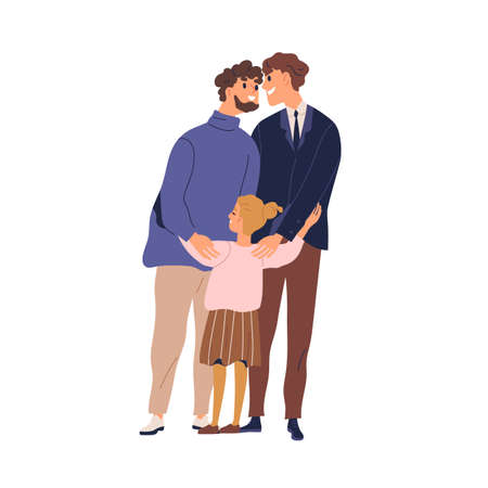 Happy lgbt family hugging and feeling love vector flat illustration. Gay couple with kid. Two enamored fathers cuddle little cute daughter isolated. Smiling homosexual man and girl standing together