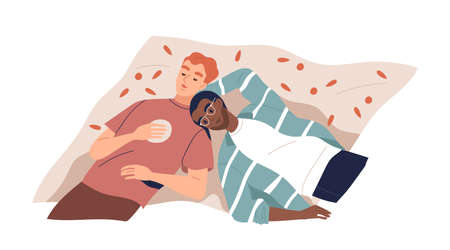 Multiracial lgbt couple lying on plaid  flat illustration. Happy enamored gay family relaxing and dreaming, spending time together isolated. Modern homosexual pair enjoying recreation top view