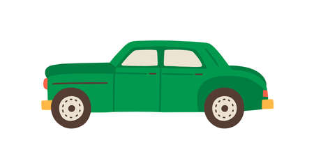 Green vintage Cuban car vector flat illustration. Retro automobile side view isolated on white background. Hand drawn colorful vehicle transport. Symbol of movement, travel and traffic Иллюстрация