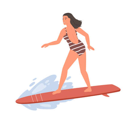 Active female in swimsuit standing on surfboard vector flat illustration. Sportswoman ride on wave enjoying extreme sports isolated on white. Smiling woman surfer in beachwear at sea or ocean 免版税图像 - 154997802