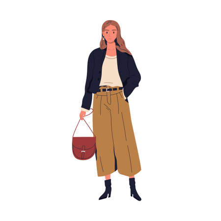 Fashionable young woman in trendy clothes vector flat illustration. Stylish person holding handbag standing isolated on white. Adorable female in modern apparel demonstrate street style or outfit 免版税图像 - 154956668