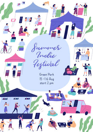 Summer indie festival colorful promo poster with place for text flat illustration. Announcement template of open air event with people enjoying outdoor entertainment at park isolated on white