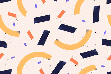 Geometric simple shapes and figures  flat illustration. Abstract textured rectangle and semicircle decorated by spatter seamless pattern. Creative contemporary minimalistic wallpaper. 矢量图像