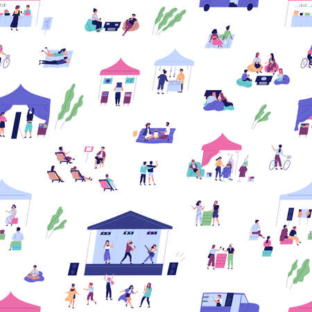 Diverse people spending time at summer indie festival vector flat illustration. Man, woman and children enjoying open air entertainment, food, drink, cinema and music performance seamless pattern