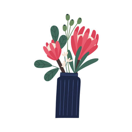 Gorgeous bouquet with protea and decorative branches in vase vector flat illustration. Beautiful blooming flowers composition with leaves and stem isolated on white. Blossom plants and herb