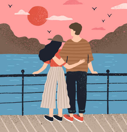 Couple hugging standing on waterfront admiring seascape at sunset vector flat illustration. Man and woman having romantic date back view. Boyfriend and girlfriend relaxing together on embankment 矢量图像
