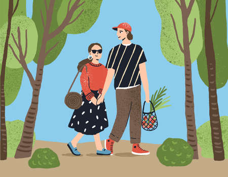 Cute couple holding hands walking together at summer park vector flat illustration. Enamored people carrying grocery bag full of products to picnic. Happy pair enjoy date going at nature landscape 免版税图像 - 155051014