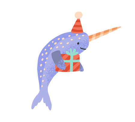 Festive cartoon narwhal with gift box tied by ribbon vector flat illustration. Celebratory cute sea unicorn in cone hat holding present isolated on white. Childish animal at birthday celebration