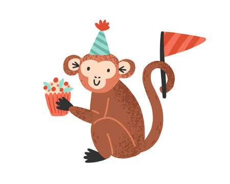 Funny monkey in cone hat holding festive cupcake vector flat illustration. Joyful celebratory marmoset with sweet dessert and festive flag isolated on white. Cute animal for childish birthday 免版税图像 - 155051137
