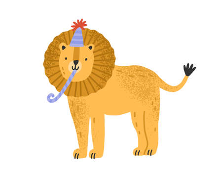 Cute childish lion in cone hat with festive pipe vector flat illustration. Funny animal celebrating holiday or birthday isolated on white. Feline character with fluffy mane for celebratory party 矢量图像