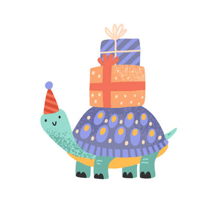 Cute celebratory turtle carrying gift box on tortoiseshell vector flat illustration. Tortoise in festive cone hat with present tied by ribbon isolated on white. Funny character for childish birthday