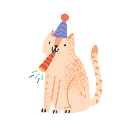 Cute cat blow in festive whistle vector flat illustration. Funny domestic animal in cone hat celebrating birthday or holiday isolated on white. Childish pet for celebration party or congratulation 矢量图像