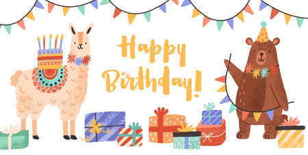 Celebratory card with funny llama and bear holding cake and garland vector flat illustration. Cute animals with gift boxes and bright lettering Happy Birthday isolated. Greeting colorful postcard