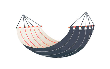 Hanged striped tissue hammock vector flat illustration. Colorful textile equipment for rest, sleep, recreation or swing isolated. Empty comfortable furniture at beach, camping, garden or backyard