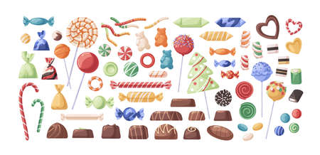 Collection of chocolate and caramel candies, jelly sweets, sugar bonbons, striped, glossy lollipops on sticks. Set of different confectionery. Flat vector cartoon illustration isolated on white. 矢量图像