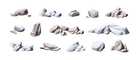 Collection of big and small heavy stones. Set of natural solid rocks. Composition of cobblestone piles. Cartoon vector illustration of gray boulders isolated on white background 矢量图像