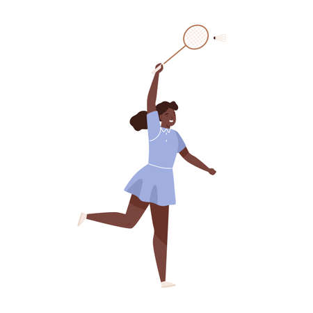 Dark skin female badminton player jumping hitting shuttlecock vector flat illustration. Sportswoman with racket demonstrate smash at training isolated on white. Woman enjoying physical activity 免版税图像 - 155199753