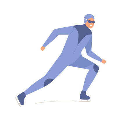 Joyful male speed skater training on ice vector flat illustration. Athletic man in racing skates exercising isolated on white. Smiling guy in glasses and uniform demonstrate exercise during workout 免版税图像 - 155199154