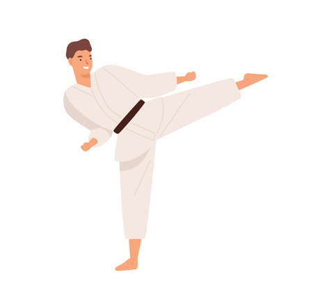 Smiling guy in kimono demonstrate hitting exercise raising leg practicing karate vector flat illustration. Male professional or amateur fighter enjoy martial art isolated on white. Man doing sports 矢量图像