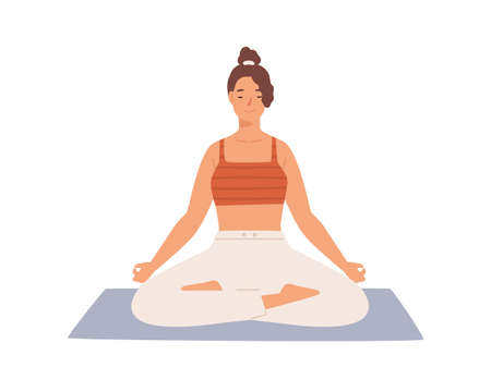 Happy woman with closed eyes sitting in lotus position practicing yoga vector flat illustration. Smiling female with crossed legs meditating on mat isolated on white. Relaxed person enjoying leisure