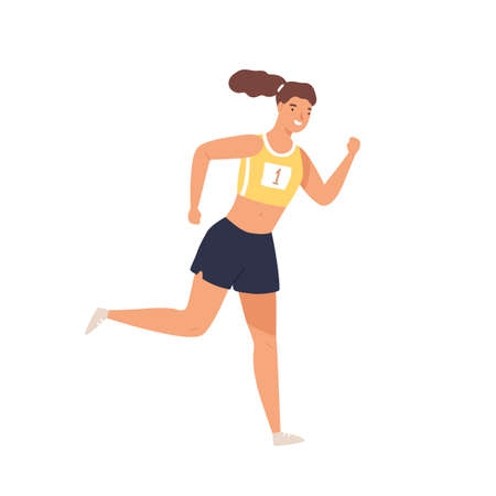 Sportswoman professional runner jogging vector flat illustration. Smiling athletic woman in sportswear running isolated on white. Positive female enjoying physical activity and healthy lifestyle
