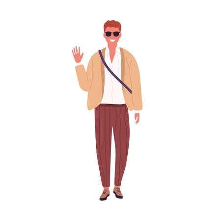 Stylish guy in sunglasses smiling waving hand vector flat illustration. Modern young businessman or student in trendy clothes isolated on white. Casual male standing in fashionable outfit 矢量图像