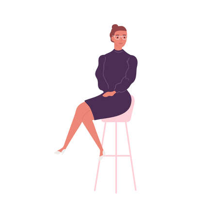 Stylish woman in elegant dress sitting on bar chair vector flat illustration. Trendy business female in glasses and feminine apparel isolated on white. Cute businesswoman or office worker 矢量图像