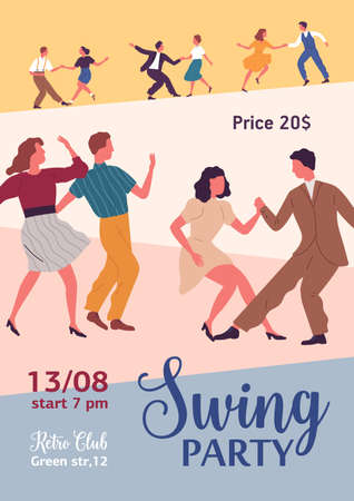 Swing party colorful promo poster with place for text vector flat illustration. Active people dancing together demonstrate choreographic movement. Announcement of Lindy hop event at retro club Stock fotó - 155443656