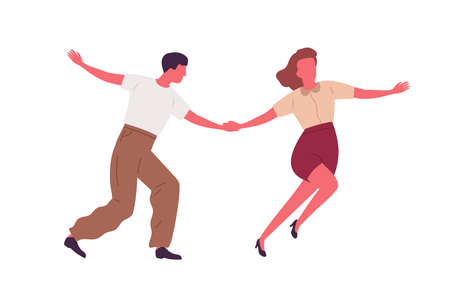 Couple dancing together holding hands vector flat illustration. Professional dancers demonstrate Lindy hop or Swing choreography isolated on white. Man and woman characters enjoying hobby or perform
