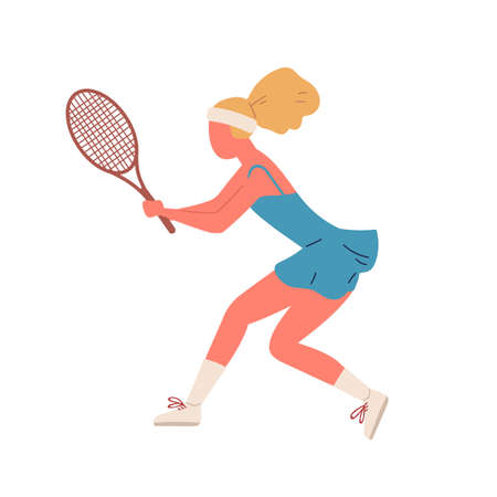 Active woman demonstrate receive position holding racket vector flat illustration. Sportswoman playing big tennis ready to smashing isolated. Female taking part at championship or training