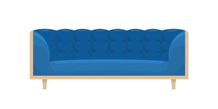 Comfortable blue sofa with armrests and wooden decor vector flat illustration. Cartoon furniture with design elements for office, living room or lounge isolated on white. Soft stylish couch for relax