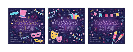 Collection of festive carnival promo cards with place for text. Bundle of square postcards decorated mask, flag garland and firework drawn with glowing neon lines. Vector illustration in linear style 矢量图像