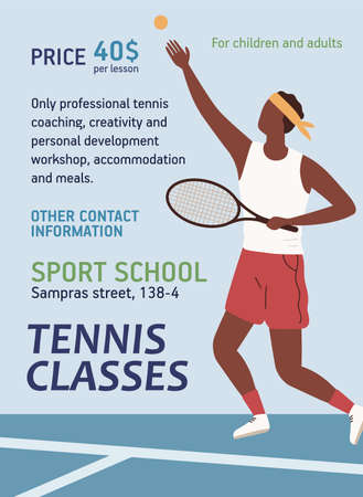 Tennis classes announcement template with place for text vector flat illustration. Poster with dark skin sportsman holding racquet tossing ball. Promotion of sport school for children and adults 矢量图像