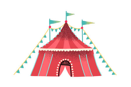 Colorful red circus tent decorated with festive flag garland and flags vector flat illustration. Striped marquee facade of entertainment area for artists and trained animals performance isolated 免版税图像 - 155296059