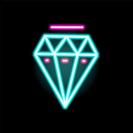 Luminous neon diamond symbol vector flat illustration in outline style. Colorful lighting jewelry icon isolated on black background. Glowing gemstone or crystal decorated with design elements 免版税图像 - 155443662